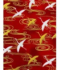 Grues japonaises fond rouge